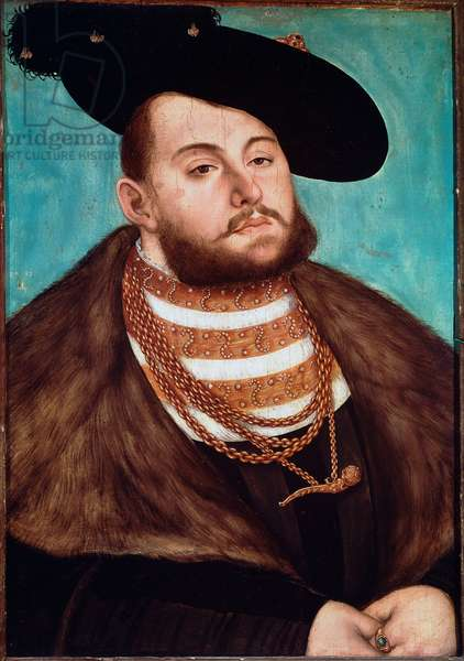 Portrait of John Frederic II the Magnanime, elector of Saxony (1503-1554) He is wearing a fur, wearing a hat with a wide brim, a ring and a gold pendant. Painting by Lucas Cranach l'ancien (1472-1553) 1531 Sun. 51x35,5 cm Paris, Musee du Louvre