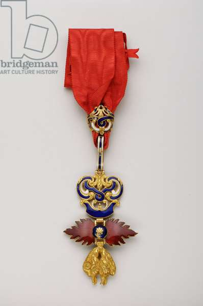 Order of the Golden Fleece: Spanish Golden Fleece - Badge belonging to Manuel II of Saxony-Coburg-Gotha Bragance (Saxony Cobourg Gotha Bragance) (1889-1932), King of Portugal (1908-1910) appointed knight on 14 May 1908 - Debut XIX century - Gold and emals - H 8 cm; w 5.2 cm; weight: 62 g Private collection