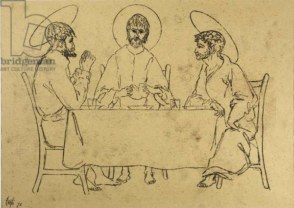 The Supper at Emmaus, 1976 (oil on paper)