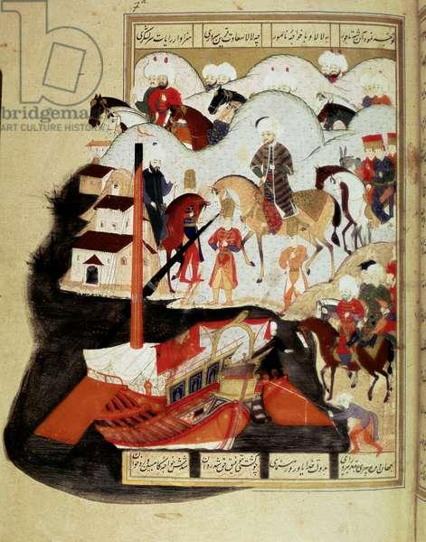 "Ottoman Empire: """" Sultan Murad III (1574-1595) Visiting the Port of Constantinople"""" Manuscript miniature ms. FY 1404 """" Sehinsahname"""" (or Shahinshah-nameh or Shahinshah-nameh, Shahinshah nama, Shahinshah nameh) """" The Story of the King of Kings"""" poem of the poem of the poem of the poem of the poet Persian Ala ad-din Mansur-Shirazi (Ala ad din Mansur Shirazi). fol.57a. 1581. Istanbul, University Library"