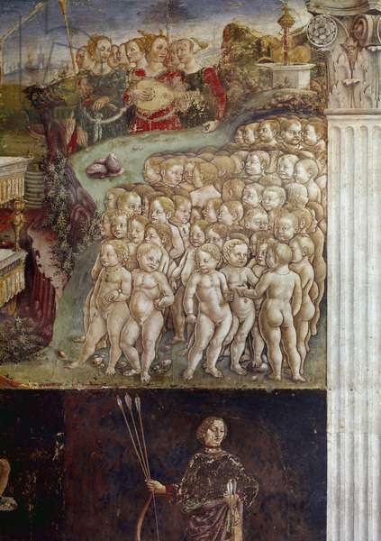 Allegory of month of may, detail of triumph of Apollo, naked children and nine muses detail fresco by Francesco del Cossa (ca. 1436-around 1478) Ferrara (Ferrara) Palazzo Schifanoia, Salone dei Mesi