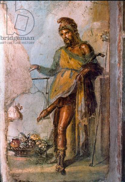 Representation of the Greek divinite Priape, god of fertility, with huge penis constantly in erection. Detail of a Pompei fresco. Casa dei Vettii. 1st century AD.