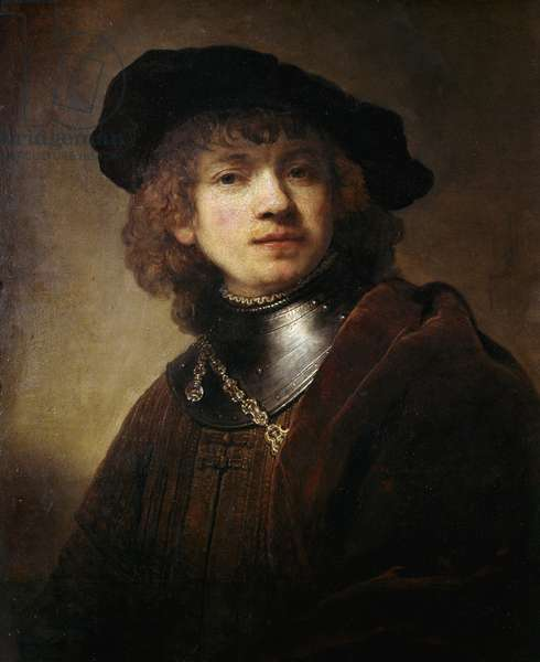 Self Portrait at the Gorgerin Painting by Harmenszoon Van Rijn Rembrandt (1606-1669), 1634. Oil on canvas. Dim: 74 x 55 cm. Uffizi Museum, Florence