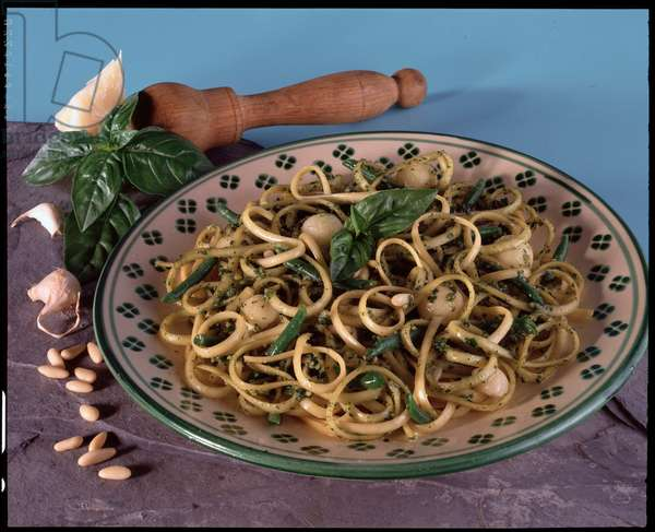 Food, Italian specialite: dish of pasta trenette with pesto, typical of Liguria - (Italian dish, trenette with pesto sauce, Italy)