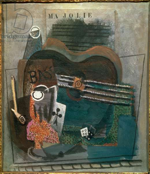 Ma jolie A bass, an ace of trefle; two, a pipe, a metronome and a score. Painting by Pablo Picasso (1881-1973) Cubisme 1914 Dim. 45x40 cm Paris, Berggruen collection