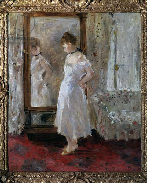 Psyche Young girl looking at herself in a glass mirror Painting by Berthe Morisot (1841-1895) 1876 Dim 65x54 cm Madrid, Thyssen-Bornemisza collection