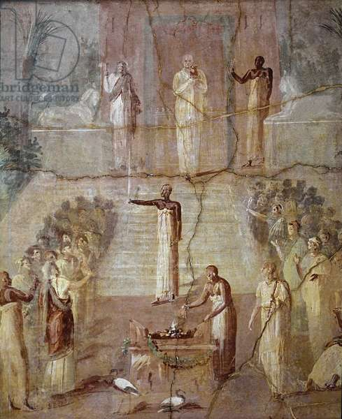 "Roman Art: """" Isiac Ceremony"""" Ritual in homage to the deity of ancient Egypt Isis Roman fresco of the 4th Pompeian style from Ercolano (Herculanum or Herculaneum) 60-80 AD Dim 95x96 cm Conserved at the National Archaeological Museum of Naples (Roman art: Ritual in honor of the ancient Egyptian deity Isis, frescoe from Ercolano, Italy 1st century)"