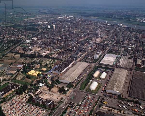 Aerial view of the industrial zone with the chemical industries BASF, 1990 - Photography