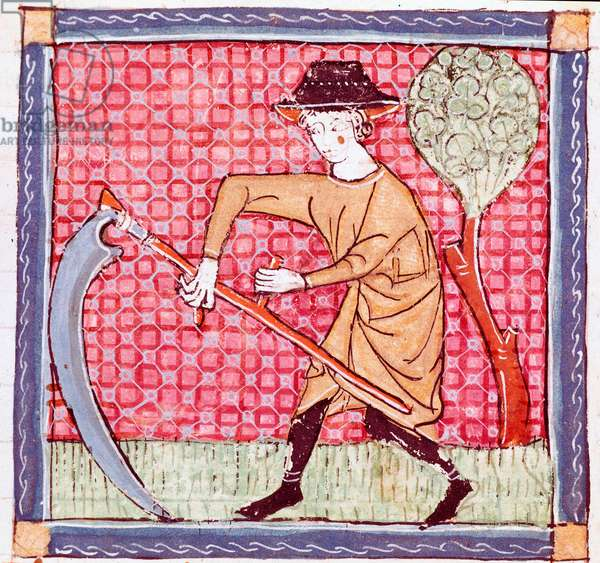 """June: a peasant holding a sickle. Miniature taken from """"Breviaire d'amour"""""""" (Breviari d'Amor) by Ermengol de Beziers (Matfre Ermengau) (Ermengaud) (died 1322), 13th century. Royal Library of the Escorial Monastery, Spain"""
