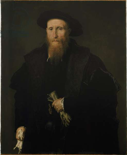 Portrait of an age man with gloves - Painting by Lorenzo Lotto (1480-1556), circa 1543, oil on canvas, 90x75 cm, Milano, Pinacoteca di Brera