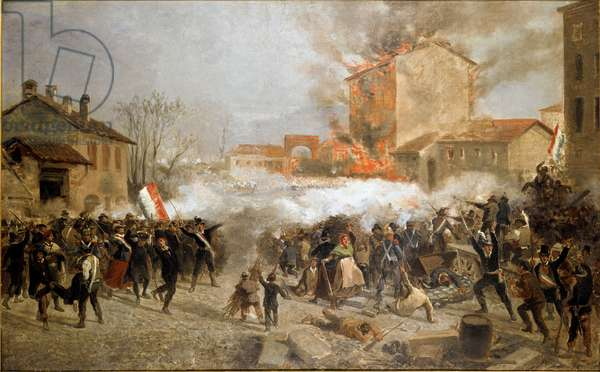 Revolutions of 1848, Five Days of Milan: insurgents take over porta Tosa on March 22th (painting, 19th century)