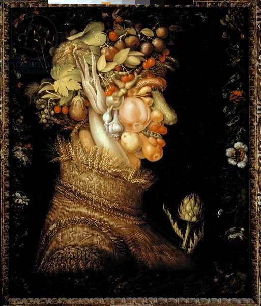 """Allegorie des Quatre Saisons: L'Eté"""""""" Painting by Giuseppe Arcimboldo (1527-1593) 1573 Sun. 0,76x0,63 m Paris, musee du Louvre - Summer - Painting by Giuseppe Arcimboldo (1527-1593), oil on canvas (76 x 63 cm), 1573 - Musee du Louvre, Paris, France"""