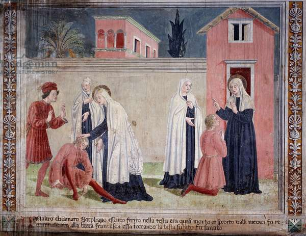 "Life of St. Francesca Romana (Santa Francesca romana) (1384-1440) (Histories of St Francesca Romana): """" The saint warriors a man wounded to the head"" (The saint heals a man wounded to the head) Fresco by Antoniazzo Romano (15th century) 1468 Rome, convent of the community of Oblate di Tor 'Specchi Italy"