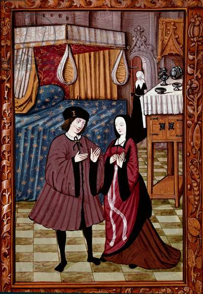 Gallant encounter in a bedroom Probably the love of Jean III de Brush and Louise de Laval. Miniature from manuscript ms. 1475, 16th century. Chantilly, conde museum