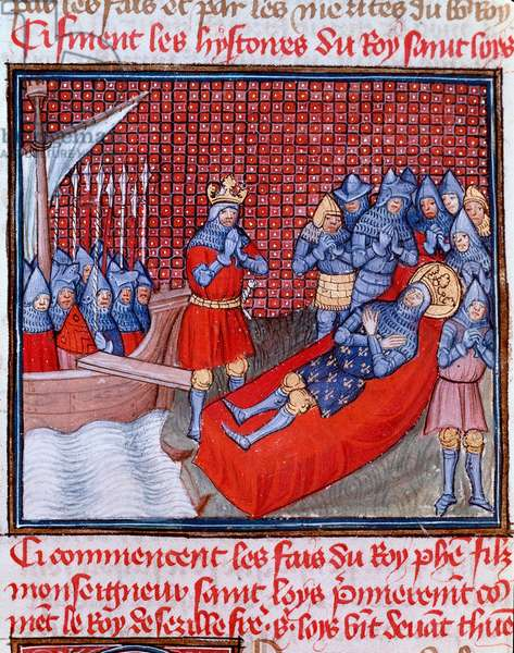 """Eighth Crusade: """""""" La mort de Saint Louis au Tunis on 25 August 1270"""""""" Miniature taken from """""""" Les grandes Chronicles de France"""""""" by Jean Froissart (1337-1400) 15th century Chantilly, Musee Conde"""
