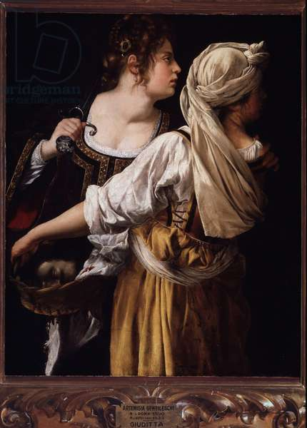 Judith and the head of Holofernes His servant Abra holds the bag while Judith puts the head of the man decapitee (Judith and the head of Holofernes) - Painting by Artemisia Gentileschi (circa 1593-1652/53) 1620-1630 Oil on canvas, Dim 117x93 cm Palazzo Pitti, Galleria Palatina Florence