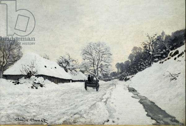 Cart, road under snow in Honfleur (Oil On canvas, 1867)