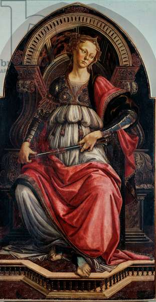 Force Allegory. Painting on wood by Alessandro di Mariano dei Filipepi dit Sandro Botticelli (1445-1510) 1470 approx. Sun. 167x87 cm Galleria degli Uffizi (Offices) Florence