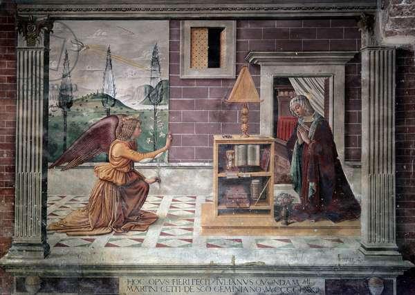 Virgin of the Annunciation (Vergine annunziata) - Fresco by Sebastiano (Sebastian) Mainardi (1460-1513), 1482. San Gimignano, Loggia del Battistero