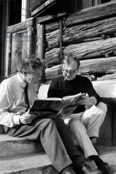 Alberto Giacometti (1901-1966) in the summer of 1963 in Stampa (Canton of Graubünden) in Switzerland with Alberto Martini (1931-1965)