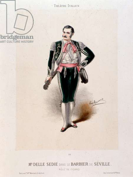 Portrait of the singer Enrico delle Sedie in the 'Barber of Seville', by Gioachino Rossini (colour litho)