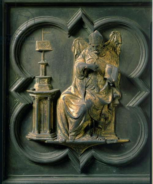 North Gate (called Gate of the Cross, to the North), exterior detail: Saint Augustine. Bronze sculpture made by Lorenzo Ghiberti (1378-1455), 1424. Baptistere San Giovanni, Florence