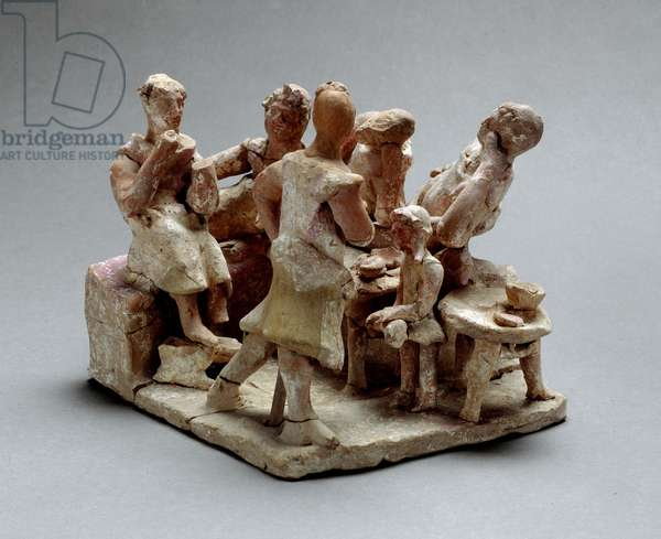 Earthenware sculpture group with banqueters, from Savelletri di Fasano (Italy)