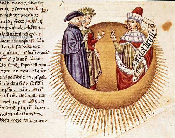 """4th Heaven: Dante and Beatrice meet King Solomon. Illuminated page illustrating a song of Paradise from the """"Divina Commedia"""" by Dante Alighieri (1265-1321). 14th century, Venice, Biblioteca Marciana"""