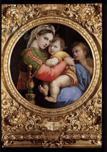 Madonna della Seggiola Virgin and Child with Saint John the Baptist called Madonna in the Chair - Painting by Raffaello Sanzio dit Raphael (1471-1528), 1513 Diam 71 cm Palazzo Pitti, Galleria Palatina, Florence
