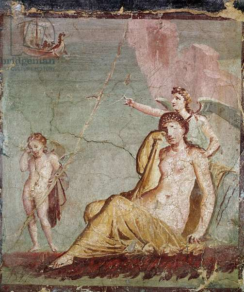 """Roman Art: """""""" The deity of Vengeance ailee Nemesis points to the ship of Thesee who abandoned Ariane in tears"""" (Roman art, Nemesis, goddess of revenge, shows Theseus ship, who just abandoned Ariadne, fresco from the house of Meleagre in Pompei, 1st century AD (detail of fresco from the casa di Meleagre) Agro, Pompeii, 1st century AD) Naples, Museo Archeologico Nazionale, inv 9051"""