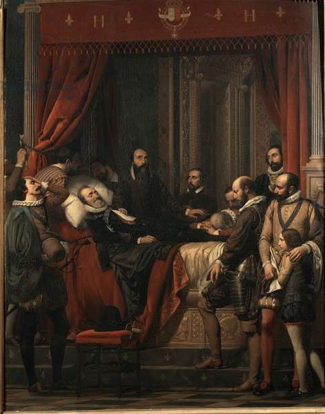 The death of Henry IV king of France, his body displayed in the Louvre Painting by Alexandre Hesse (1806-1879), 1837 Dim: 172x135 cm Pau, musee du chateau