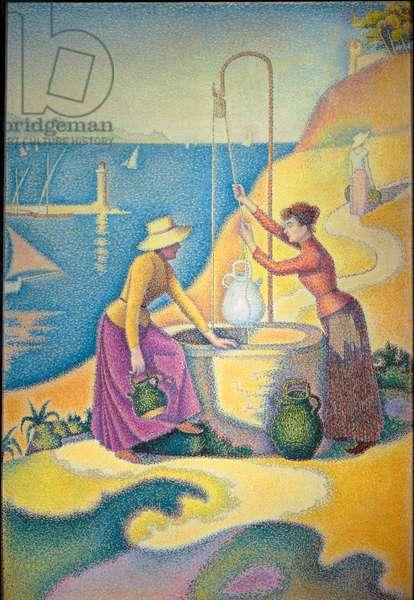 "Femmes au puits ou """" Jeunes provencales au puits"""", Painting by Paul Signac (1863-1935), 1892, Oil on canvas, Dim: 1,95 x 1,30m, Paris, Musee D'Orsay - """" Women at the well"" or """" Young Women of Provence at the Well"""", 1892, Oil on canvas by Paul Signac (1863-1935), Dim: 1,95 x 1,95 x 1,30m Paris, Musee d'Orsay"