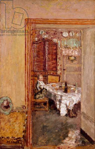 Little boy in the dining room. Painting by Pierre Bonnard (1867-1947) 1898 English Private Collection