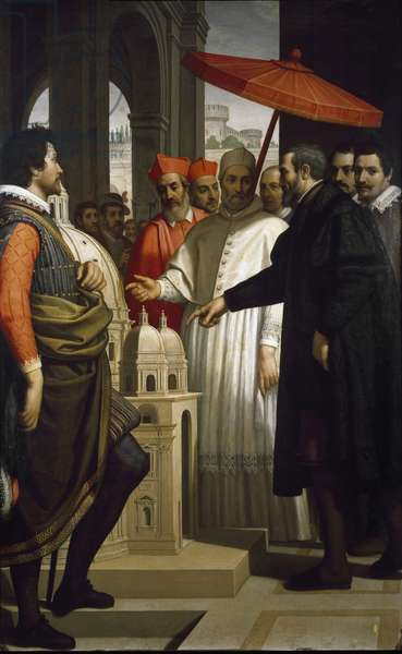 The sculptor, painter and architect Michelangelo Buonarroti called Michelangelo (Michelangelo or Michelangelo, 1475 - 1564) presents to Pope Pius IV (Pius or Pio) (1559-1565) his project for the Basilica of St. Peter (San Pietro) in Rome Painting by Domenico Cresti dit il Passignano (circa 1560-1636) Florence, Florence, Casa Buonarroti