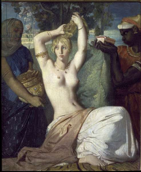 Esther's Toilet - Painting by Theodore Chasseriau (1819-1856), oil on canvas, 45,5x35,5 cm, 1841. Paris, Louvre Museum