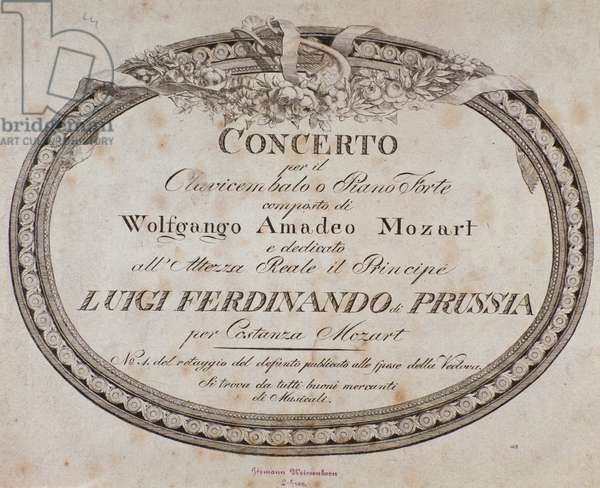 Frontispiece of musical score of concerto for piano and harpsichord by austrian composer Wolfgang Amadeus Mozart (1756-1791).