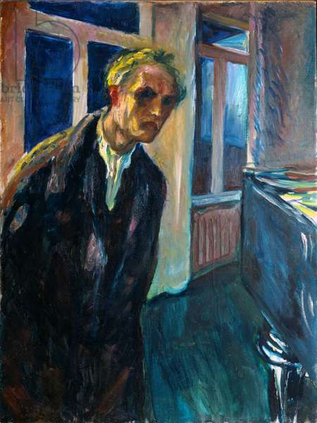 Self Portrait or Man Walking Night Painting by Edvard Munch (1863-1944) 1923-1924 Sun. 89,5x67,5 cm Oslo, Kommunes Kunstsamlinger Munch-Museet (Musee Munch)