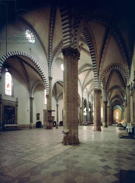 Interior view of the Basilica of Santa Maria Novella, 13th-14th century. Florence - Interior of the Basilica Santa Maria Novella, 13th century - Florence, Italy