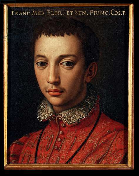 Portrait of Francois I of Medici (Francesco I de Medici) (1541-1587) Young Boy Painting by Allori Angelo di Cosimo dit Bronzino (1503-1572) 16th century Sun 15x12 cm Palace Medici-Riccardi (Medici Riccardi) Florence