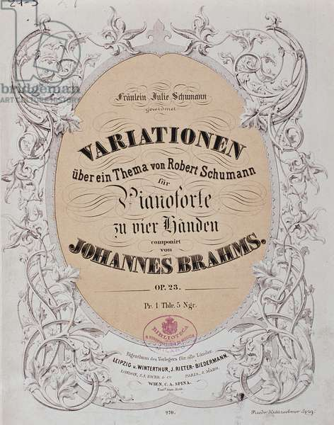 """Frontispiece of """"Variations on a Theme by Robert Schumann"""" (Op. 23) by Johannes Brahms (1833-1897), 1861 (colour litho)"""