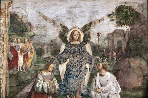 Life of St. Cecile: Valerian and cecilia crowned by an angel, detail  (fresco, 1506)