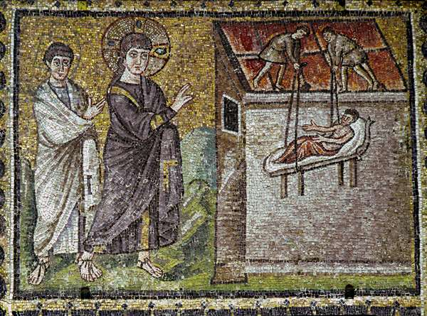 Jesus miraculously warried a paralytic at Capharnaeum Mosaic of the 6th century. Basilica of Saint Apollinar the Nine of Ravenna (Sant'Apollinare Nuovo, Ravenna).