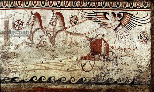 A victory led by a bige Lucanian fresco from the 4th century BC, from the necropolis of Paestum, Italy. Museo nazionale archeologico, Paestum