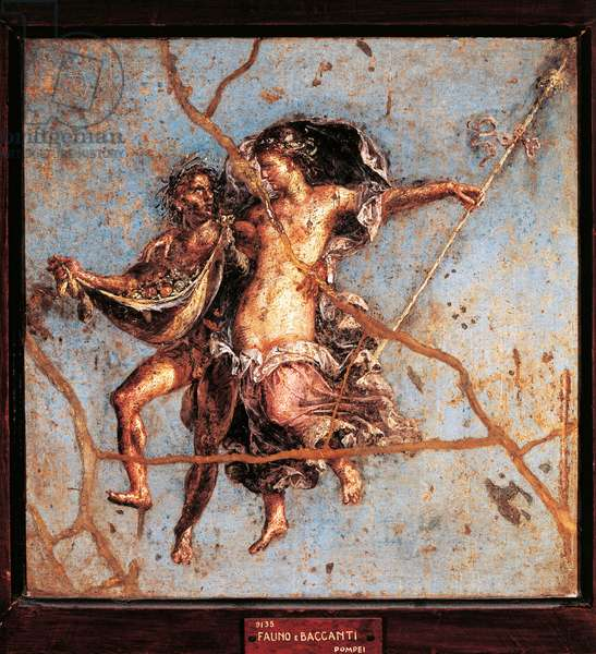 Wildlife and menade flying in the air. Roman fresco from the villa dei Dioscuri in Pompei. 1st century BC-1st century AD. Preserve at the National Archaeological Museum of Naples.