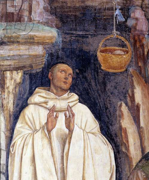 How the demon broke the bell of Benoit's basket (The devil broke the bell of st Benedict of Nursia's basket) - Detail - Wall fresco made by Antonio Bazzi dit il Sodoma (1477-1549) recounting the life of Saint Benedict of Nursia (480 - 567) founder of the Order of Benedictine 1503 - 1508 Abbey of Monte Maggiore, Florence