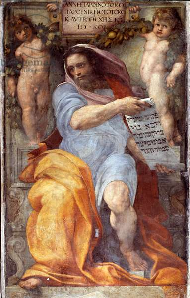 Representation of the Prophet Isaiah (Prophet Isaiah) Fresco by Raffaello Sanzio (1483-1520) dit Raphael, 1511-1512 Dim 250x155 cm (Before restoration) Church Sant 'Agostino in Campo Marzio (Basilica of St. Augustine) Rome