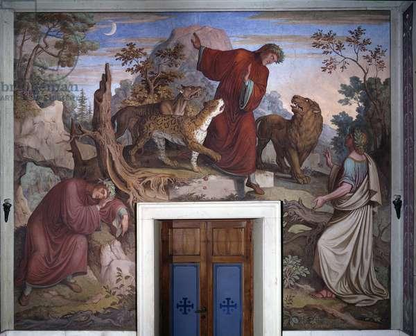 """Representation of Dante and Virgile Illustration of """""""" The Divine Comedy"""""""" (La Divina Commedia) by Dante Alighieri - Fresco by Joseph Anton Koch (1768-1839) Rome Casino Massimo"""