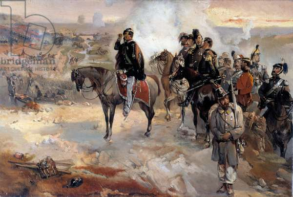 The battle of Palestro on the 31st may 1859, king Victor Emmanuel among the Zouaves (oil on canvas, 19th century)
