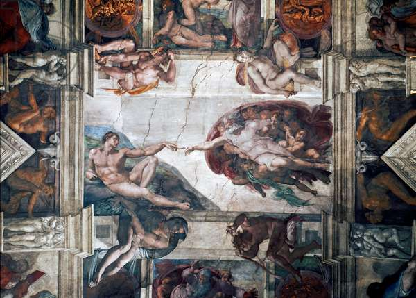 The Creation of Adam, detail from the Sistine Ceiling, 1511-12 (fresco)