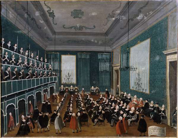 La cantata delle putte delli Ospitali Group of orphans collected in Venice hospitals and forming part of choirs at the time of Antonio Vivaldi. Painting by Gabriel Bella (1730-1799) 18th century Palazzo Querini Stampalia Venice